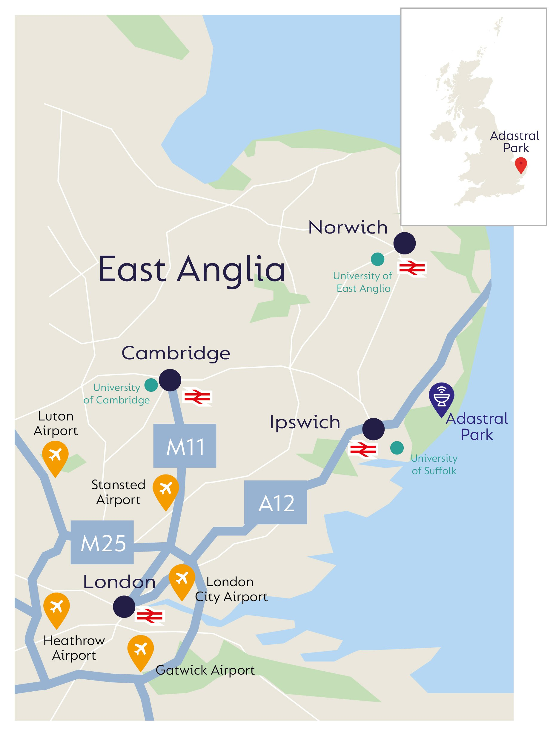 Image of UK map showing the infrastructure and facilities in the East Anglia region supporting 5g and digitalisation.
