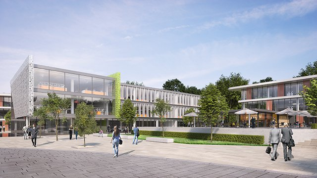 Artist impression of the Cardiff Edge Life Sciences Park with seating, trees and people outside the building