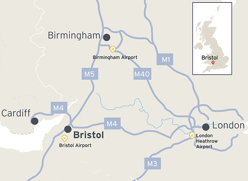 A map showing the location of Bristol and the major road and rail links to Cardiff, Birmingham and London