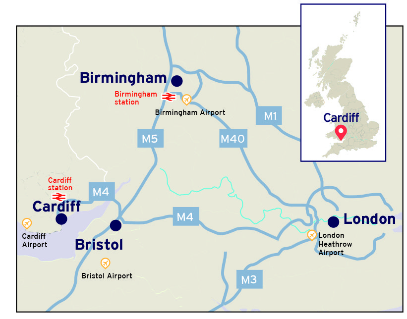 A map showing the location of Cardiff and the major road and rail links to Bristol, Birmingham and London
