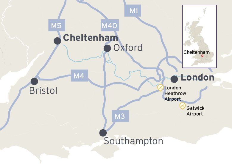 Map showingthe location of Cheltenham and the major road links to Oxford, London, Southampton and Bristol