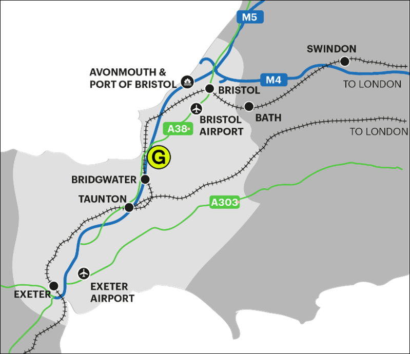 Map of South West England showing main transport links