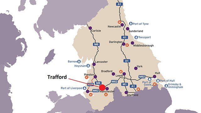 Map showing Trafford and its main transport links in Central England