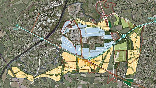 Aerial map of Future Carrington development area