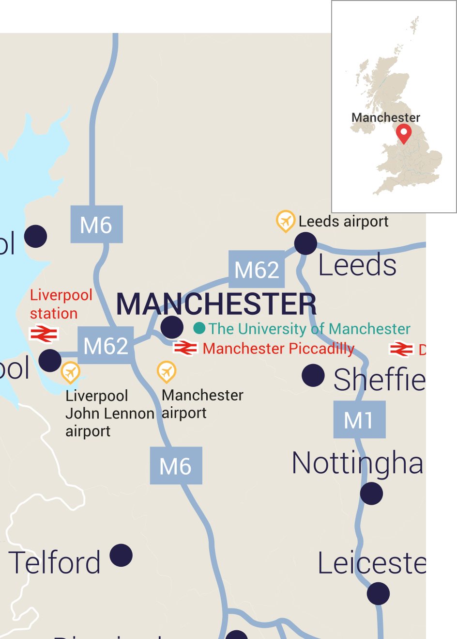 Map of Northern England with Manchester and its main transport links