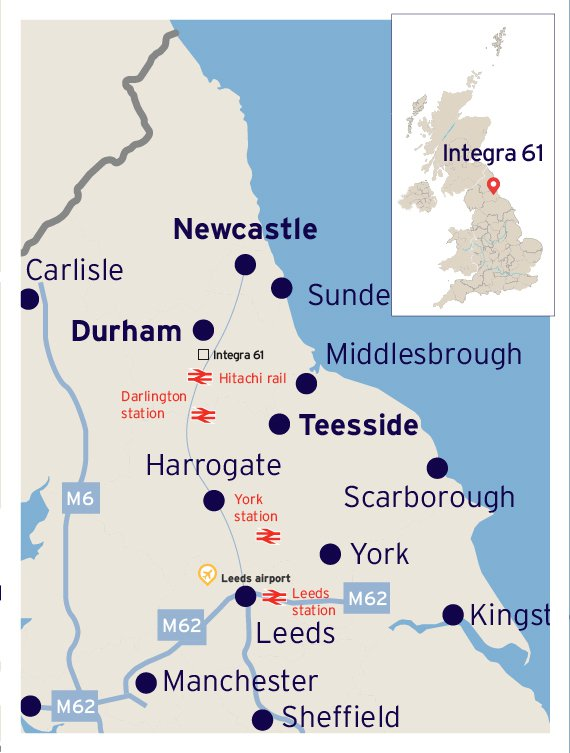 Map showing location of Integra 6, including the M62 and M6 motorways and railway line between Leeds and Newcastle