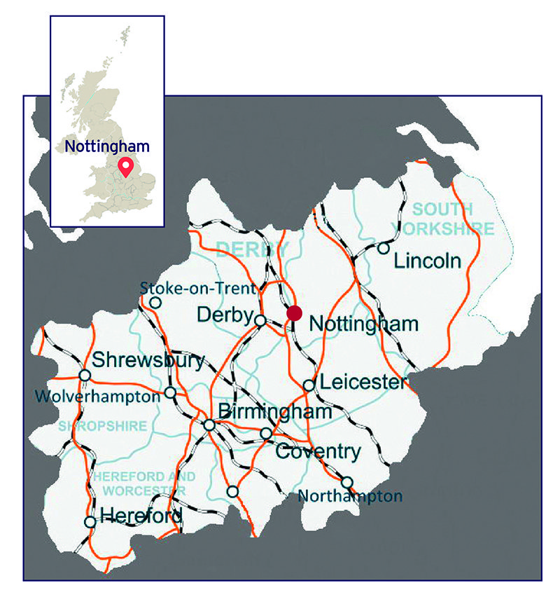 Map showing Nottingham and its main transport links in Central and Northern England