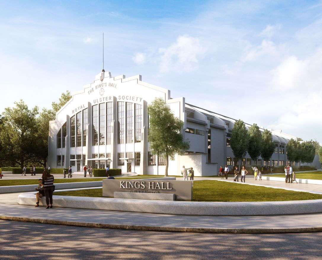 Computer generated image of Kings Hall Health and Wellbeing Park, Belfast