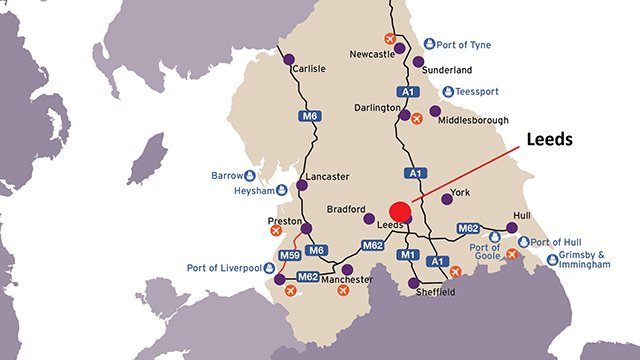 Map of Northern England showing Leeds and its major transport links