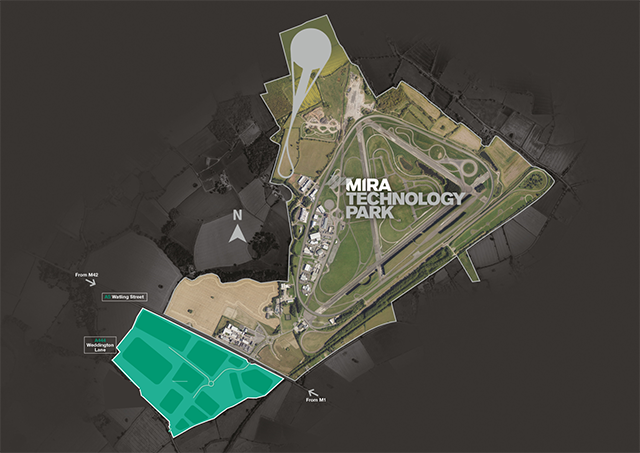 Aerial view of Mira Technology Park, with main commercial areas marked