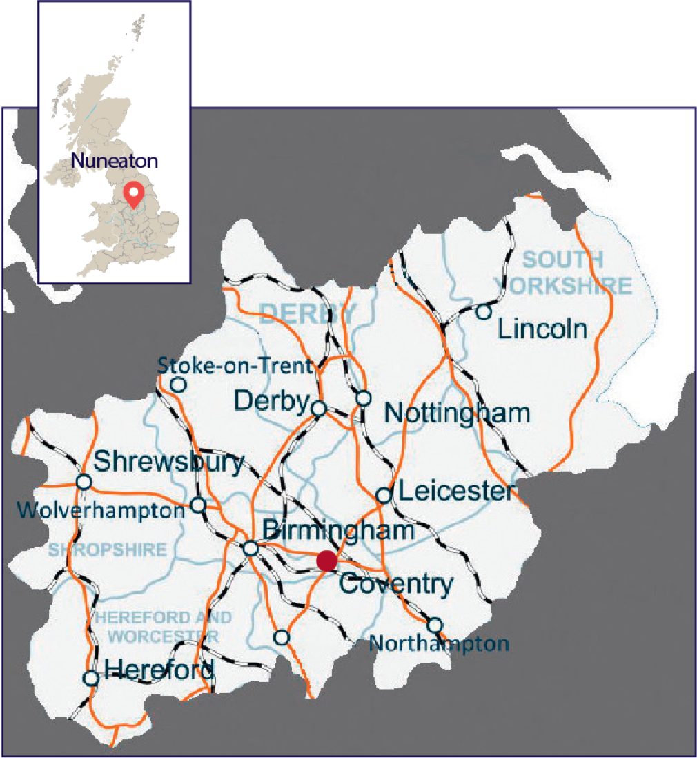 Map of English Midlands showing Nuneaton and its major transport links
