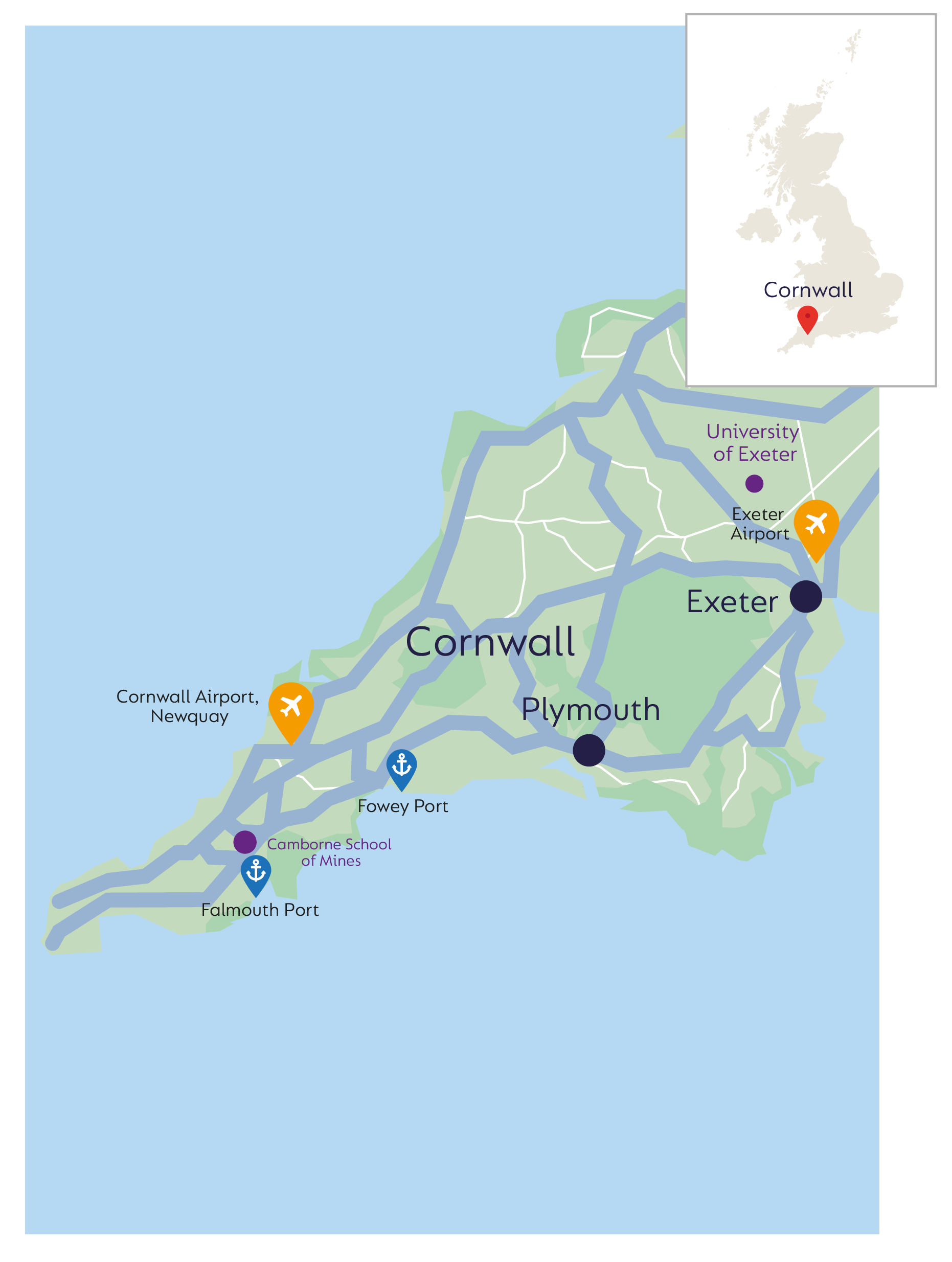 map of Cornwall for mining