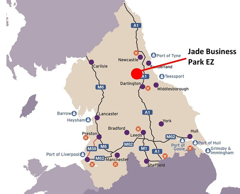 Map showing the location of Jade business park in Murton, County Durham and the main road links across the North of England
