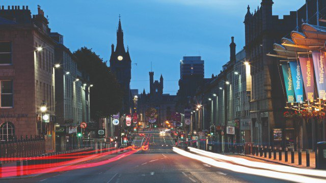 Queen Union Street in Aberdeen city centre at night