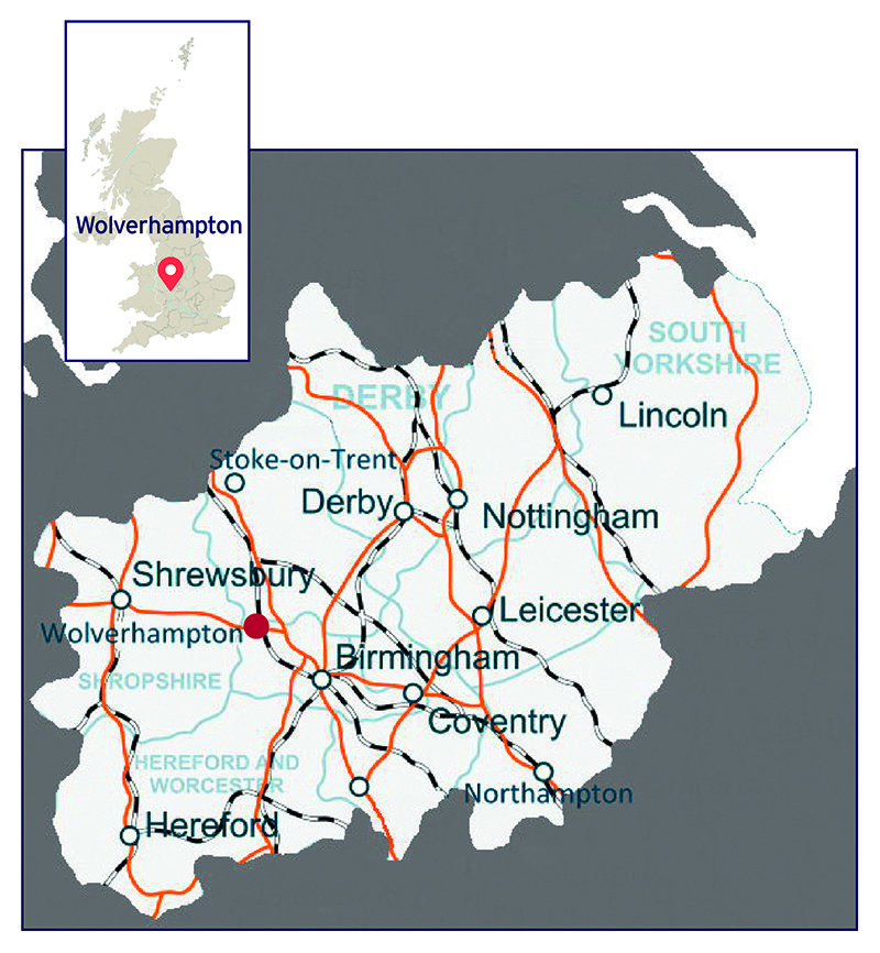 Map showing the location of Wolverhampton and the main transport links across the Midlands region