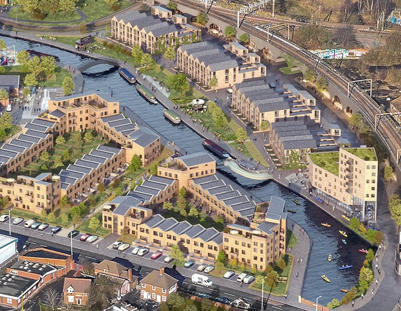 Artistic impression of new houses with a canal running through the middle of the estate at Wolverhampton