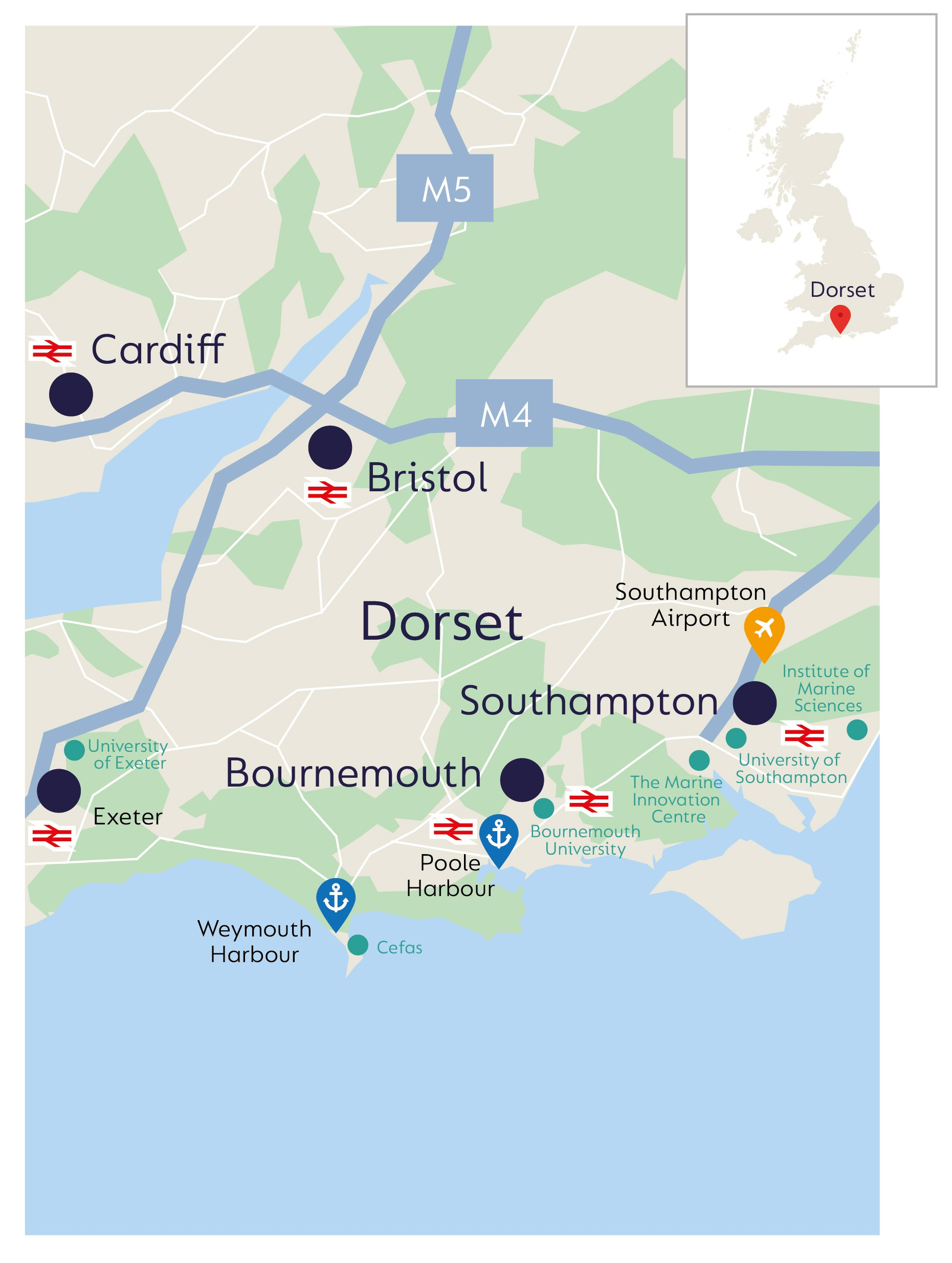 Image of UK map showing the infrastructure and facilities in the Dorset region that support aquaculture.