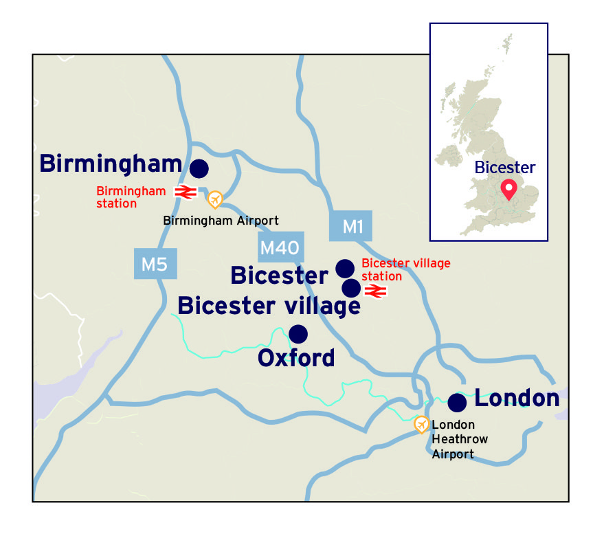 Map showing bicester village's connectivity to london and Birmingham