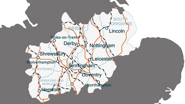 A map showing Nottingham and the main transport links to the rest of the Midlands