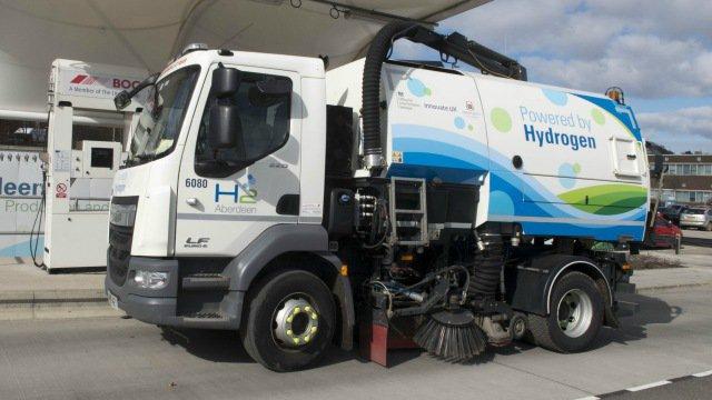 A hydrogen powered street cleaner truck