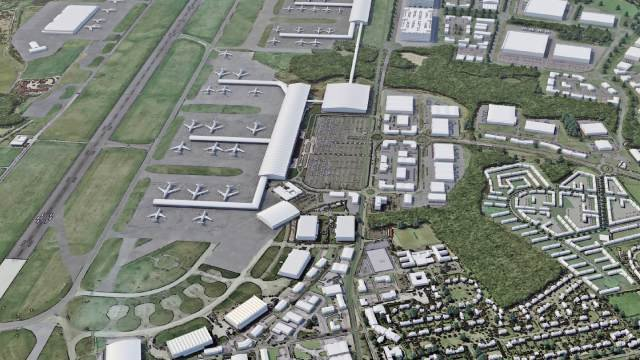 Artistic impression of an aerial shot of a new airport that will be part of the aero centre Yorkshire