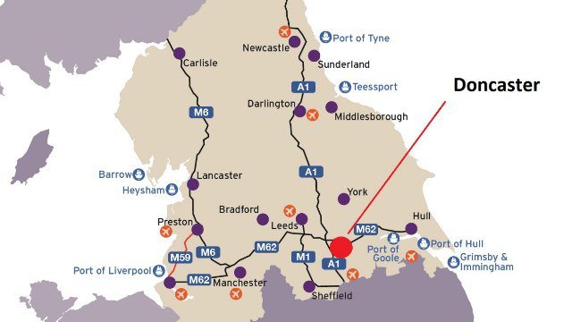 A map showing the location of Doncaster and the major transport links and ports across Northern England