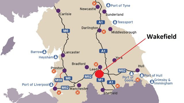 A map showing the location of Wakefield and the major transport links across Northern England