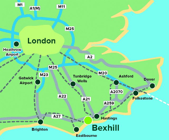Map of South East of England showing Bexhill and transport links