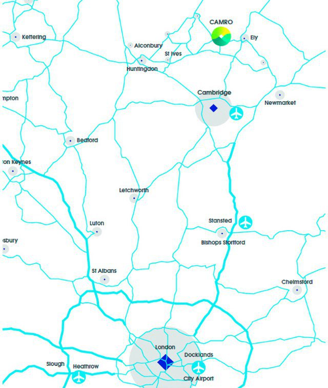 Map showing Camro site and transport links between Cambridge and London