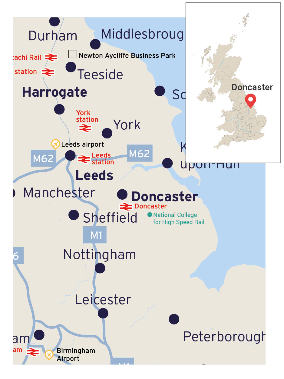 Map of Eastern England showing Doncaster and its transport links