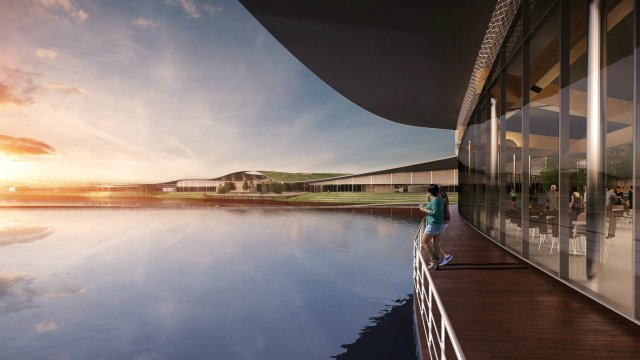 Artist's impression of Future Park showing building on lakeside
