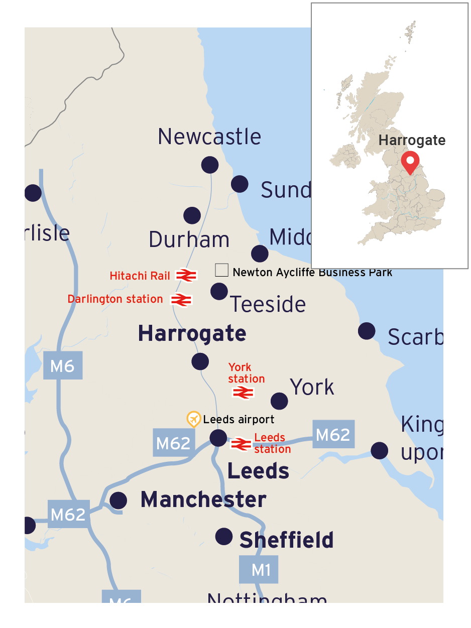 Map showing Harrogate's position in England and its transport links