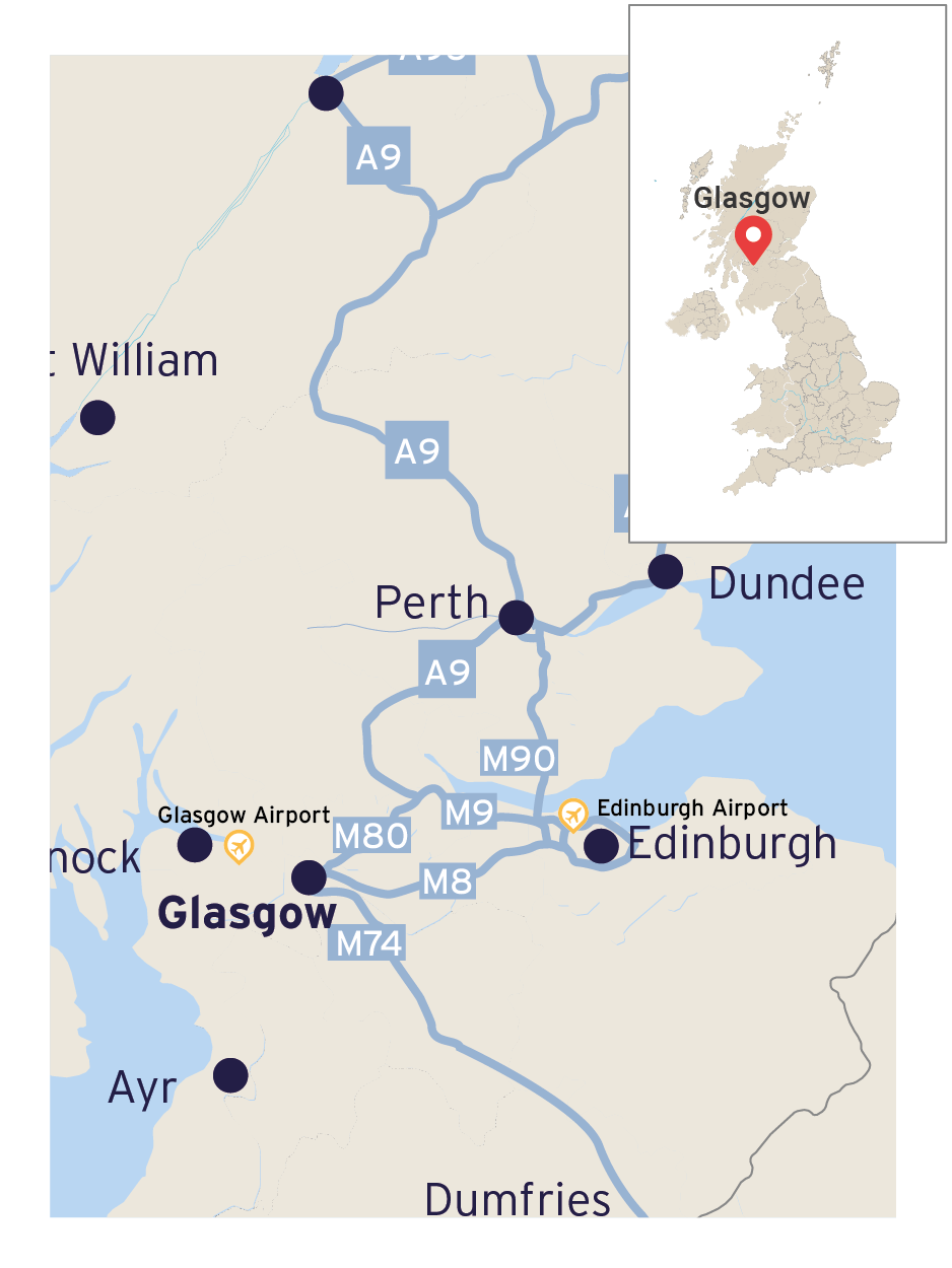 Map showing the location of Glasgow and the main road links to Edinburgh, Perth, Dundee and the Highlands