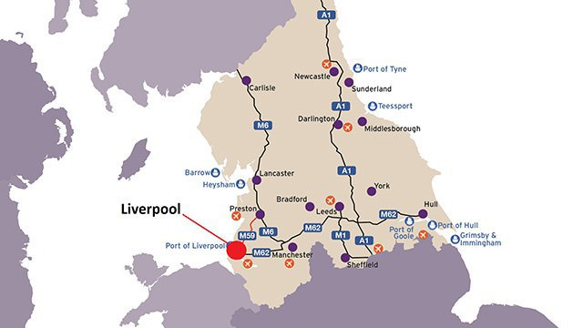 Map showing the location of Liverpool and the major transport links across Northern England