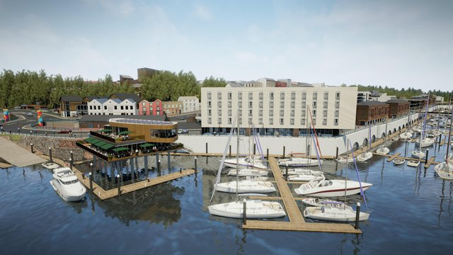 Artistic impression of a small harbour sail boats and a flat complex part of the completed Milford waterfront