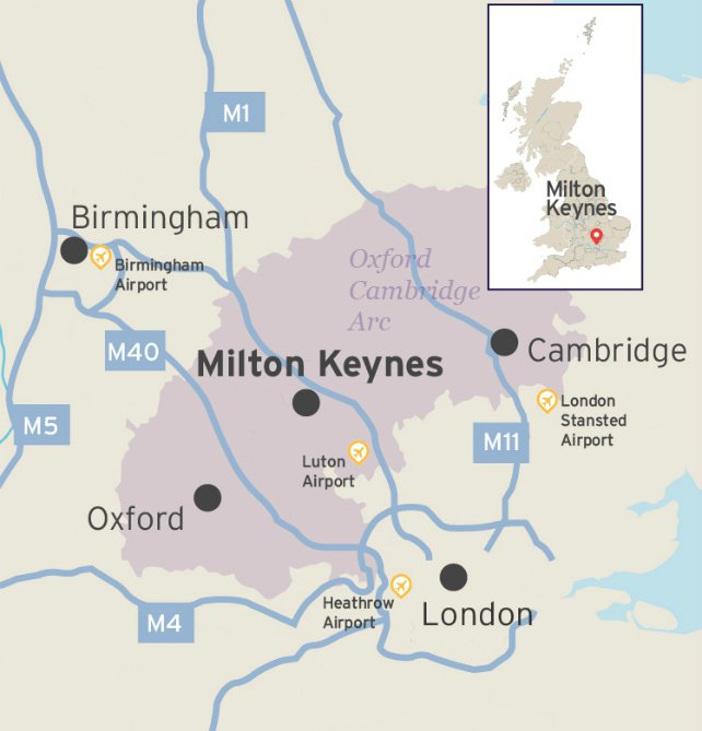 Map showing Milton Keynes and its main transport links in Southern England