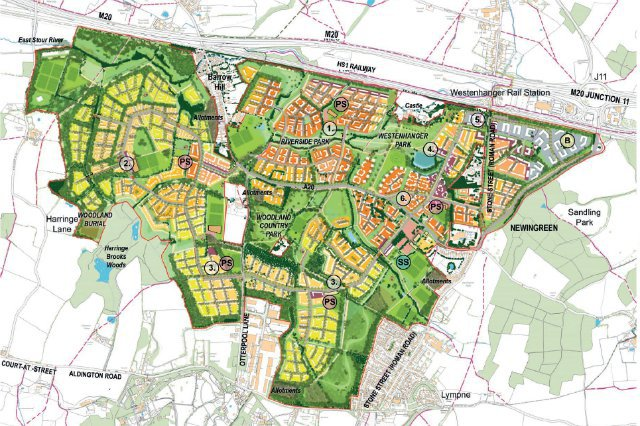 A bird's-eye-view map of the Otterpool park masterplan