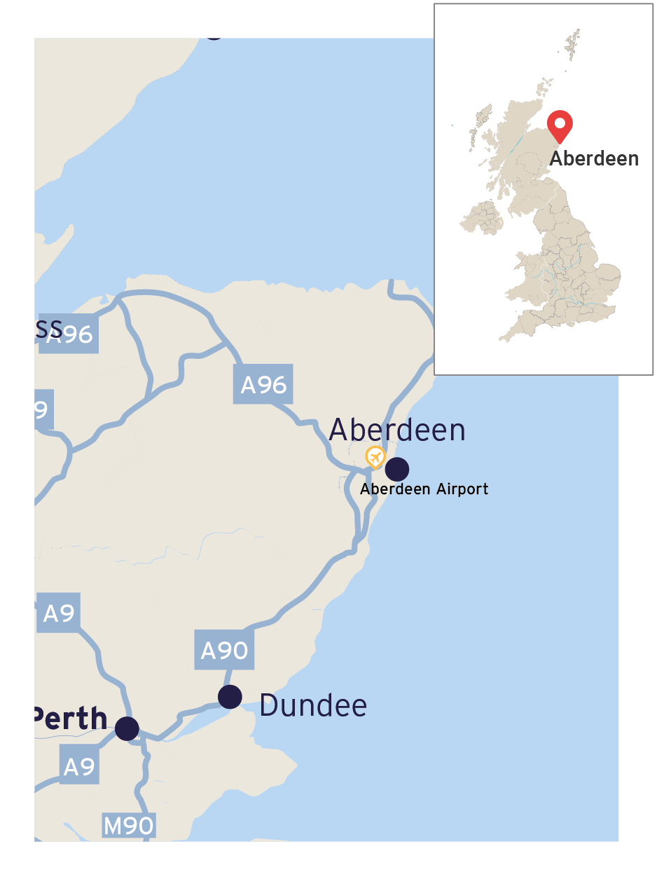 Map showing the location of Aberdeen and the main road links to Dundee and Perth