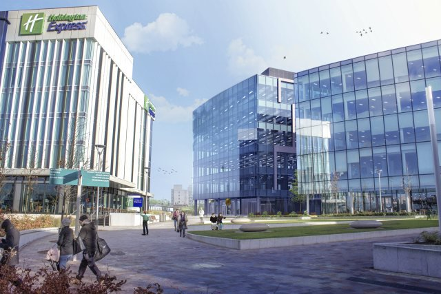 Artistic impression of a new office block and a hotel with an open space between them at stockport exchange