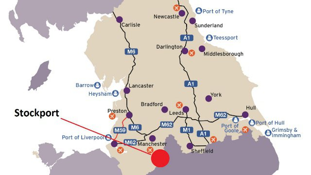 Map showing the location of Stockport and the main road links to the rest of the major cities in Northern England