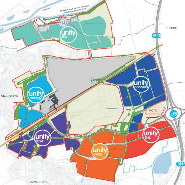 Map overlain with shapes to show planned sites of development for the unity infrastructure programme in Doncaster
