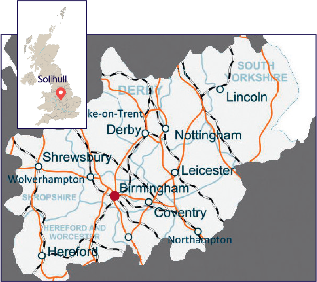 Map showing the location of Solihull and the major transport links across the Midlands region