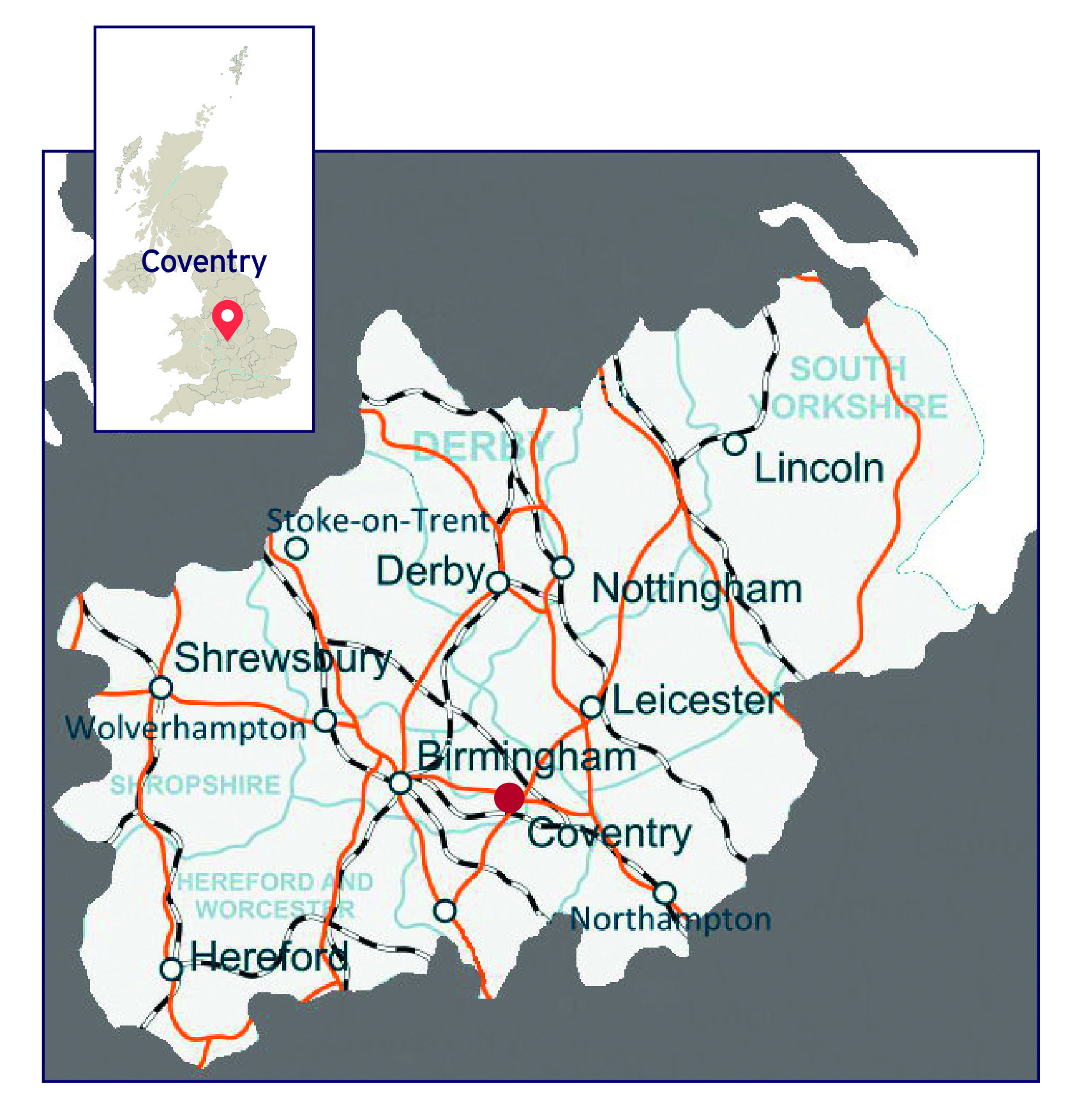 Map of English Midlands area with Coventry and its transport links