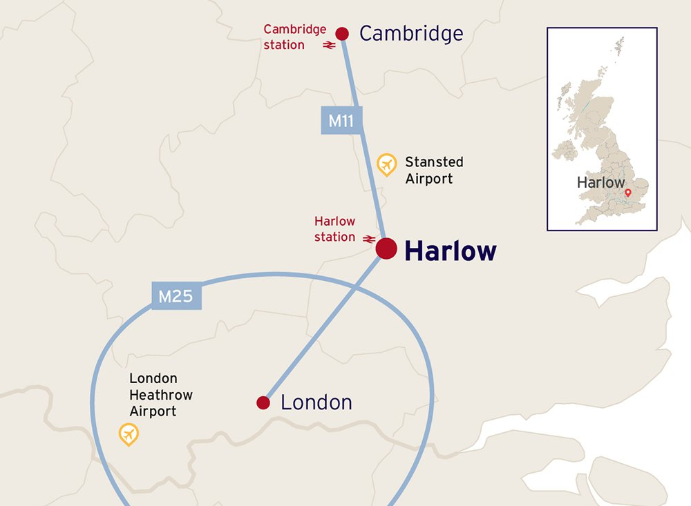 Map showing major connections between London, Harlow and Cambridge