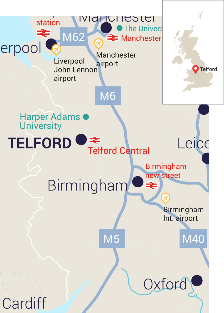 Map of West Midlands with main transport links