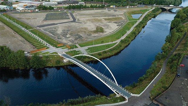 Aerial view of bridge and Magenta development area