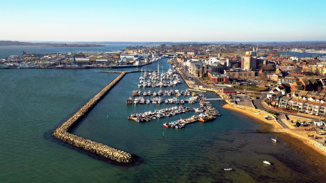 Aerial view of Poole harbour, Dorset.