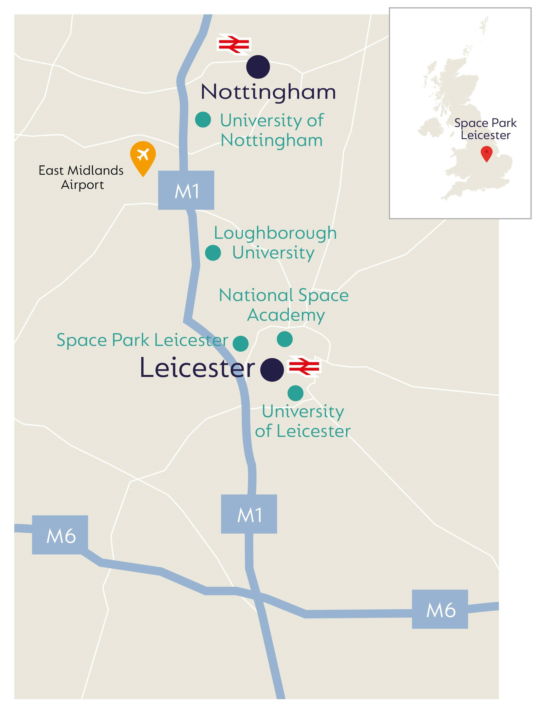 Image of UK map showing the infrastructure and facilities in the Leicester region that support the 