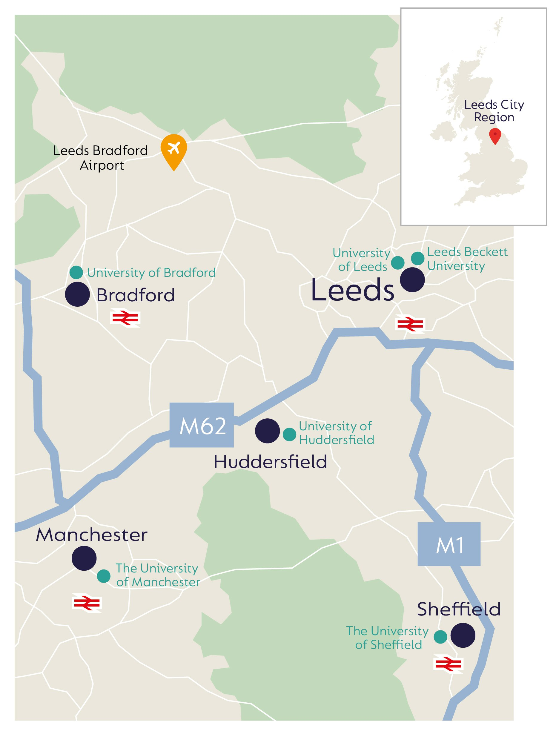 Image of UK map showing the infrastructure and facilities in the Leeds City region that support the tissue regeneration and wound care industry.